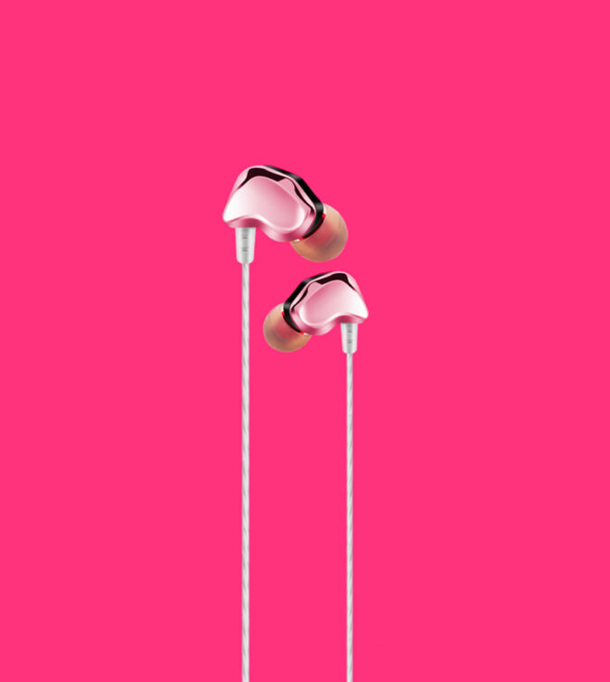 Ecouteurs filaires intra-auriculaires Rose gold
