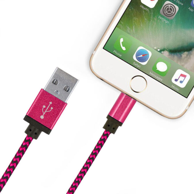 Câble USB Lightning résistant nylon - Rose