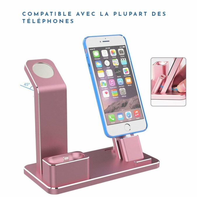 Support de charge Rose Gold Apple Watch, iPhone et AirPods
