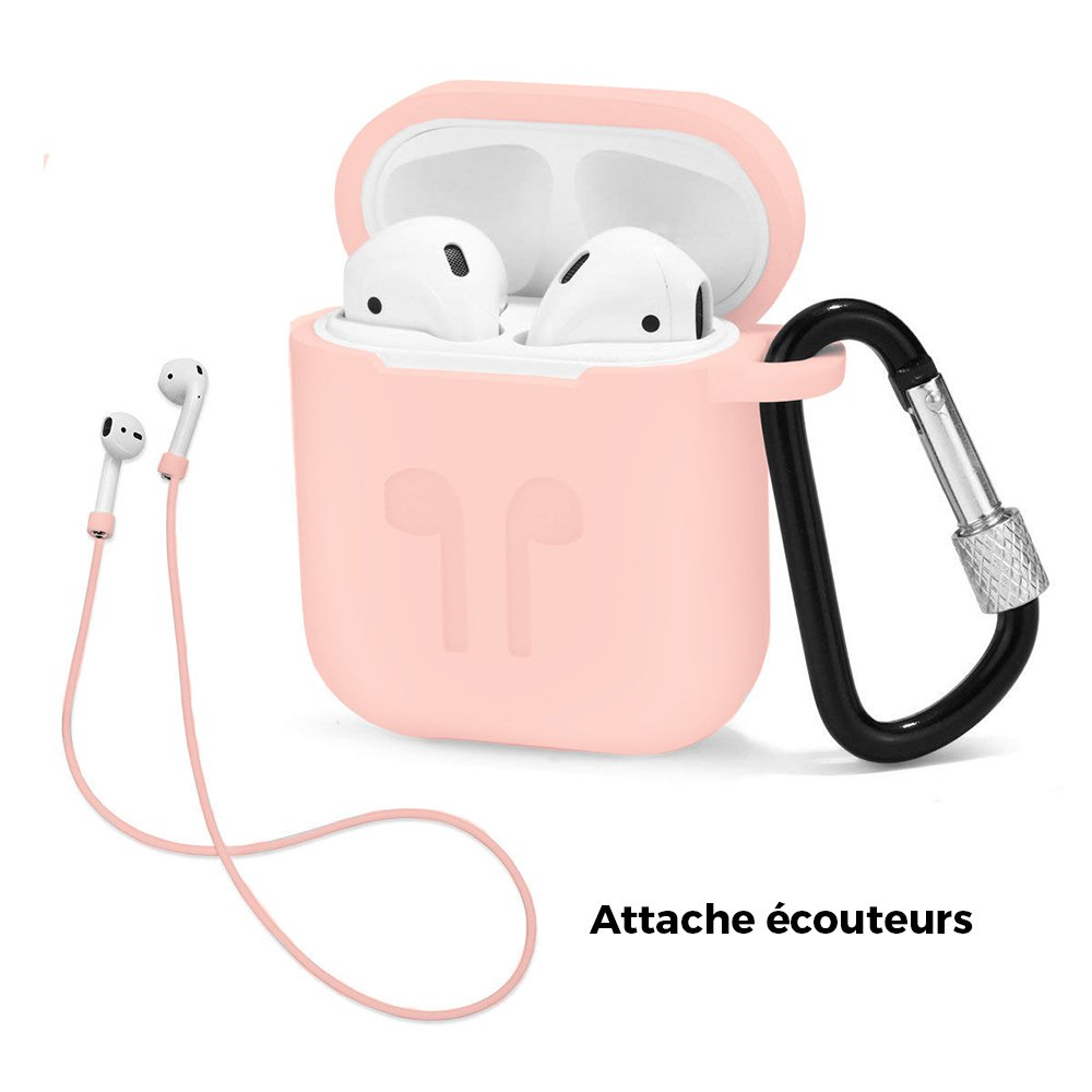 Housse silicone de protection pour AirPods Rose