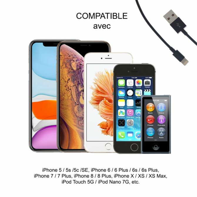 Câble Lightning compatible avec iPhone X/XS MFI de charge & de synchronisation - 1 metre