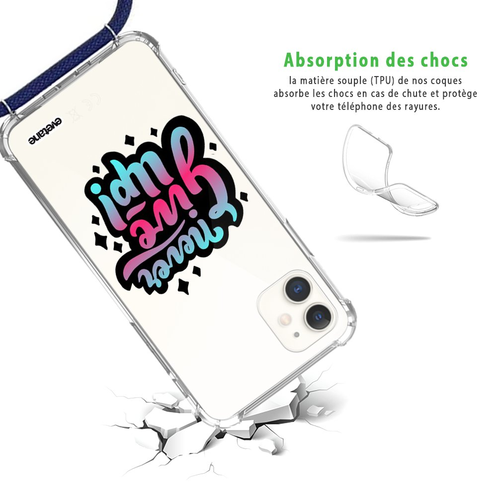 Coque iPhone 11 anti-choc silicone avec cordon bleu - Never Give Up