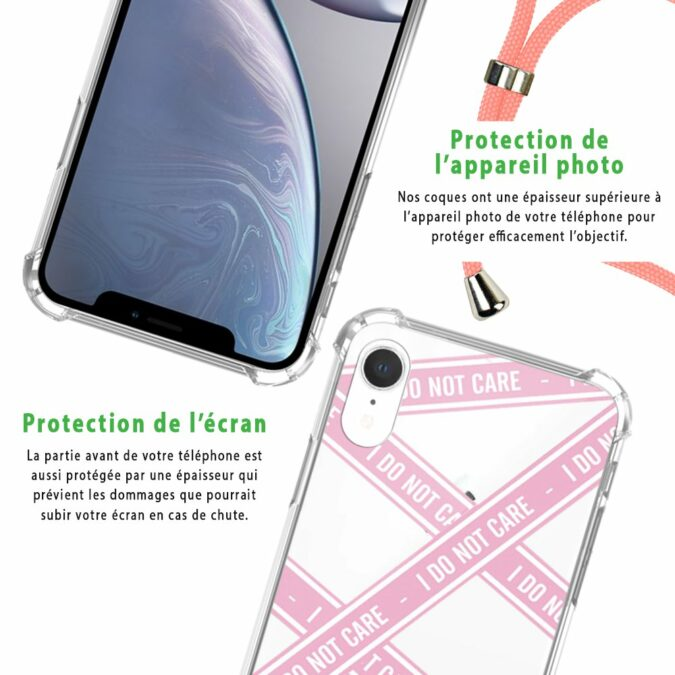 Coque iPhone XR anti-choc silicone avec cordon rose- I Do Not Care