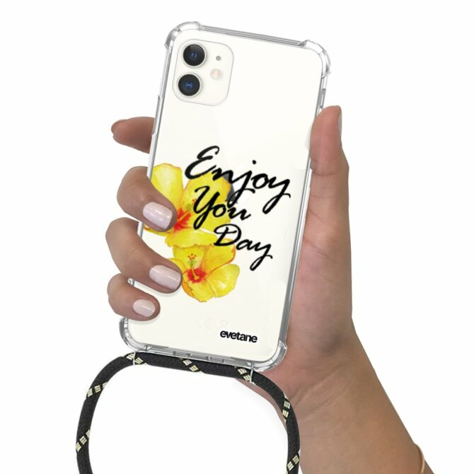 Coque iPhone 11 anti-choc silicone avec cordon noir-Enjoy Your Day
